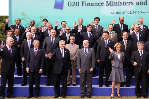 Bộ trưởng Tài chính Việt Nam Vũ Văn Ninh (hàng trên cùng, thứ 4 từ phải) cùng Bộ trưởng tài chính các nước G20. Ảnh: MOF