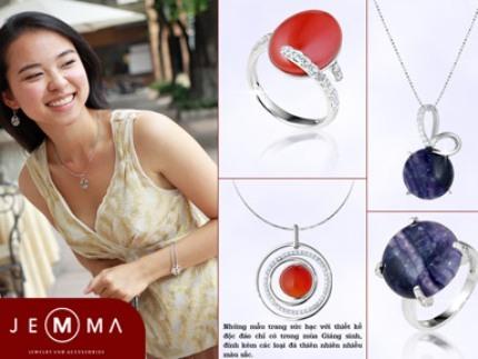 Những mẫu trang sức bạc với thiết kế độc đáo chỉ có trong mùa Giáng sinh, đính kèm các loại đá thiên nhiên nhiều màu sắc.
