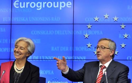 Thủ tướng Luxembourg và Tổng giám đốc IMF. Ảnh: AFP