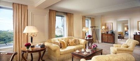 Mỗi đêm, giá phòng VIP Hoàng gia của Ritz  Carlton là 15.000 USD với diện tích khoảng 184m2, buồng ngủ có một giường lớn. Hệ thống tivi, DVD và dàn âm thanh hiện đại luôn sẵn sàng phục vụ nhu cầu giải trí của khách. Thậm chí, ban quản lý khách sạn còn trang bị kính thiên văn kiểu cổ điển để bạn có thể ngắm nhìn những chú chim ngoài công viên Central Park. Ngoài ra, vị khách nghỉ chân tại đây còn được tặng vé vào cửa quán bar khách sạn và dùng đồ ăn, uống miễn phí. Ảnh: Chriscypert.com.