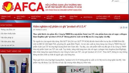Hội chống gian lận thương mại và hỗ trợ người tiêu dùng TP HCM. Ảnh chụp màn hình