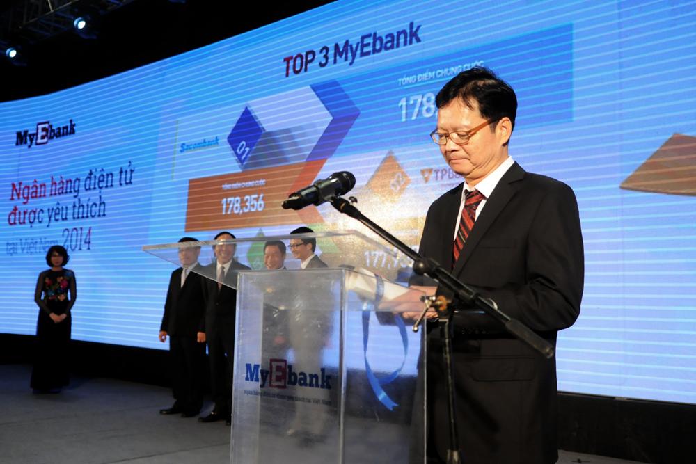 Tổng biên tập VnExpress - ông Thang Đức Thắng công bố ngân hàng nhận danh hiệu My Ebank 2014