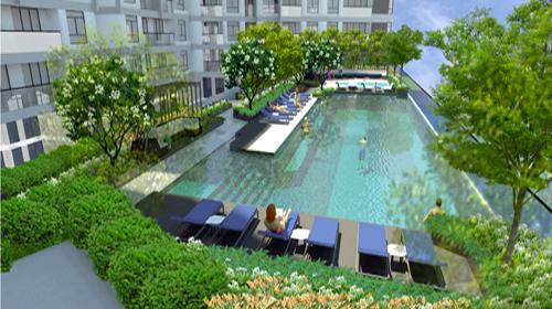 Hồ bơi trên không tại tầng 7.