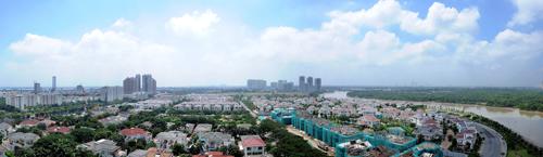 Tầm nhìn thực tế căn hộ hướng Tây Nam dự án Hưng Phúc - Happy Residence hướng ra các khu biệt thự đồng bộ, dòng sông cảnh quan.