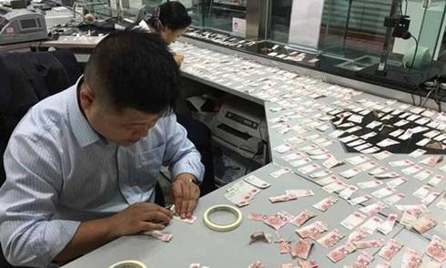 Nhân viên ngân hàng ngồi ghép hàng trăm tờ tiền rách