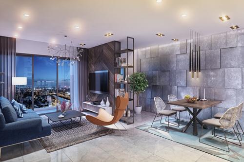 Phòng khách tại căn hộ cao cấp Park Vista. Hotline phòng kinh doanh Park Vista: 18006900 - 0909518986.