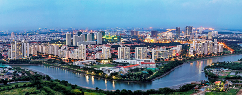[Caption]Khu đô thị Phú Mỹ Hưng được phát triển với 8 khu chức năng, trong đó có 3 khu tiện ích và 5 khu dân cư, đáp ứng đầy đủ nhu cầu của cư dân.