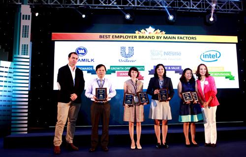Ông Lê Mỹ Hà, Trưởng ban Đào tạo, Phòng Nhân sự (thứ 2 từ bên trái sang), đại diện Vinamilk nhận chứng nhận Nơi làm việc tốt nhất Việt Nam năm 2015 và thương hiệu nhà tuyển dụng hấp dẫn nhất ở  tiêu chí Lương, Thưởng, Phúc lợi