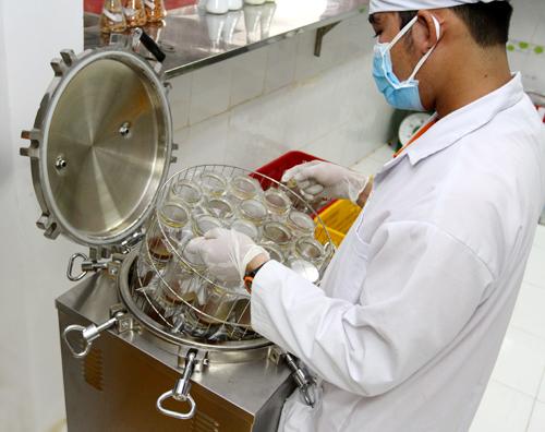 Sau khi được đóng gói kín, các hũ đem hấp thanh trùng trong 30 phút. Khoảng thời gian này đảm bảo cho hỗn hợp tiệt trùng mà vẫn giữ các chất dinh dưỡng cần thiết để cho nấm phát triển.