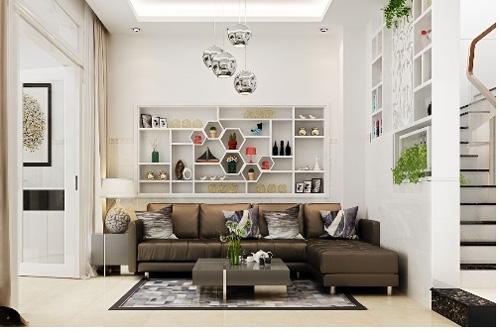 Phòng khách của căn nhà phố. Xem thêm thông tin tại www.green-home.vn