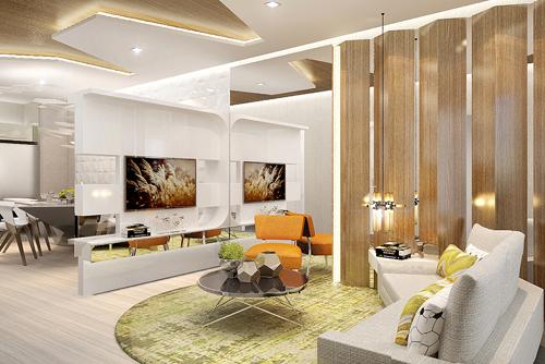 Phòng khách căn hộ mẫu Saigon South Residences thiết kế mang phong cách hiện đại.