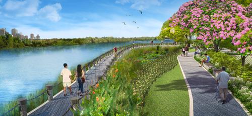 Có 2 lối dạo bộ tại Sakura Park gồm lối tản bộ dọc bờ sông và lối bộ hành với hàng cây hoa anh đào được trồng trên toàn bộ cung đường.