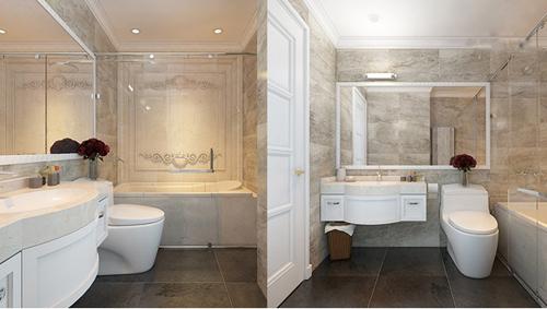Thiết bị vệ sinh Kohler trong phòng tắm đang được hoàn thiện tại Sunshine Palace.