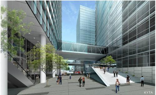 Toàn bộ các cao ốc trong khu Thương mại Tài chính sẽ được kết nối với nhau bởi Sky Brigde- cầu đi bộ trên cao, tạo nên biểu tượng độc đáo về mặt cảnh quan kiến trúc và thể hiện tính kết nối thông suốt của một trung tâm luôn có những hoạt động giao thương sầm uất, nhộn nhịp.