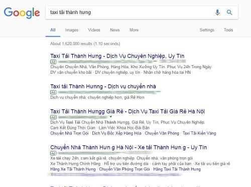 Kết quả tìm kiếm từ khóa Taxi tải Thành Hưng cho thấy toàn bộ quảng cáo với từ khóa này đều dẫn đến các website giả mạo