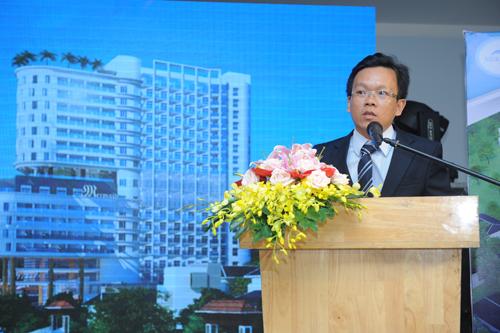 Ông Đặng Văn Lân, đại diện chủ đầu tư phát biểu trong lễ công bố dự án condotel Mermaid Seaside Vũng Tàu tại TP HCM.