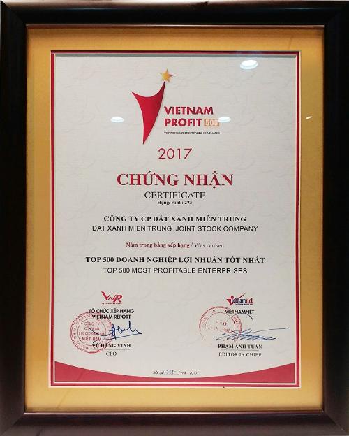 Đất Xanh Miền Trung vào top 500 doanh nghiệp lợi nhuận tốt nhất