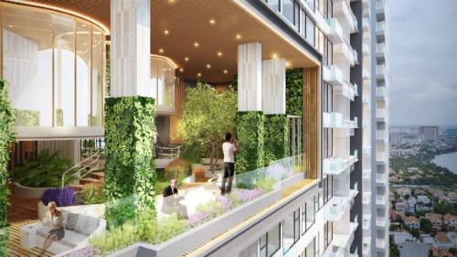 Phối cảnh dự án Q2 THAO DIEN với không gian tràn ngập sắc xanh.