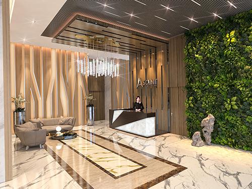 Sảnh đón tiếp cư dân thiết kế sang trọng và ấm cúng như khách sạn hạng sang. Đội ngũ nhân viên phục vụ các dịch vụ chuyên nghiệp, kiến tạo cộng đồng văn minh, thân thiện, mang nét văn hóa riêng biệt.