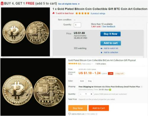 Đồng xu Bitcoin được rao bán trên eBay và AliExpress.