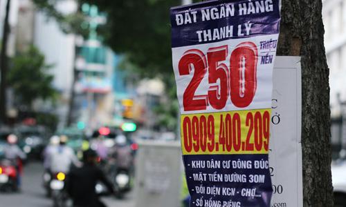 Một ba nô mi ni treo gốc cây quảng cáo bán đất nhà băng thanh lý , nằm dọc đường Nguyễn Công Trứ, quận 1, TP HCM, nơi được mệnh danh là phố tài chính Sài Gòn với rất nhiều trụ sở ngân hàng trú đóng tại đây. Ảnh: Phương Đông
