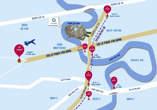 Dự án Van Phuc City sở hữu vị trí thuận lợi kết nối đến nhiều khu vực kinh tế xung quanh. Ảnh: Vạn Phúc.
