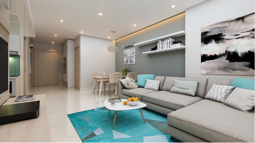Không gian nội thất hiện đại, sang trọng và tiện nghi tại Xuân Mai Complex.