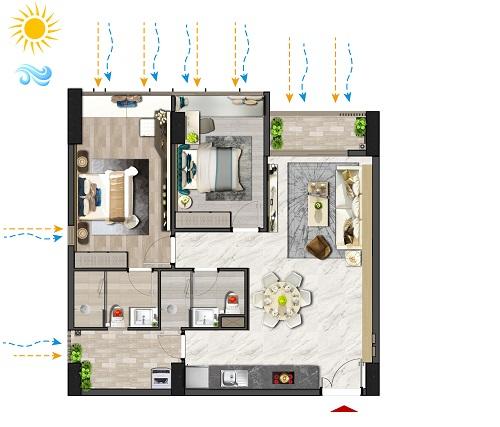 Các căn hộ hoàn thiện cơ bản, được sử dụng vật liệu xây dựng có nguồn gốc từ Châu Âu với 95% thành phần tái chế được, giúp tiết kiệm điện, nước. Phòng ngủ lớn và phòng khách xoay theo hướng chính, hưởng ánh sáng và gió tự nhiên. Phòng tắm, bếp, khu sân phơi đều thông thoáng gió trời, giúp hạn chế sử dụng ánh sáng đèn.
