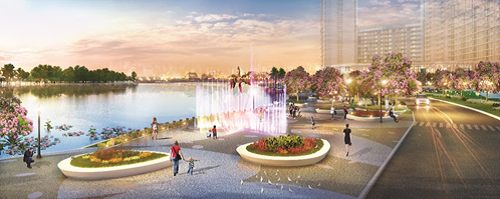Một điểm nhấn khác là công viênhoa anh đào Sakura Park cùng lối tản bộ ven sông ngay phía trước khu phức hợp.
