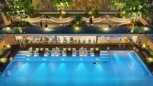 Hồ bơi Tropics Pool là nơi thư giãn của cư dân sau ngày làm việc căng thẳng.