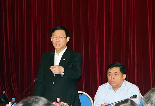 Phó thủ tướng Vương Đình Huệ họp với Bộ Kế hoạch & Đầu tư về tình hình giải ngân vốn đầu tư công ngày 10/4. Ảnh: Trần Thanh