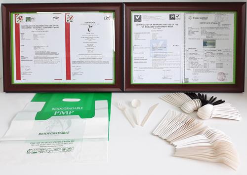 Sản phẩm từ nhựa phân hủy sinh học PMP.