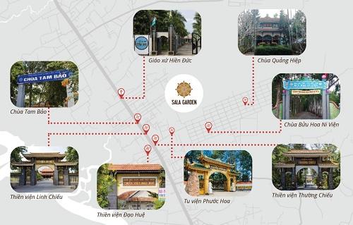 Hoa viên nghĩa trang Sala Garden có vị trí gần nhiều ngôi chùa, thiền viện và giáo xứ lớn, có lịch sử hàng trăm năm xung quanh.