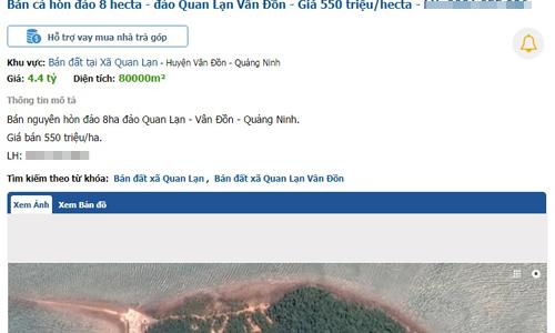 Mẩu tin rao bán một hòn đảo tại Vân Đồn. Ảnh chụp màn hình