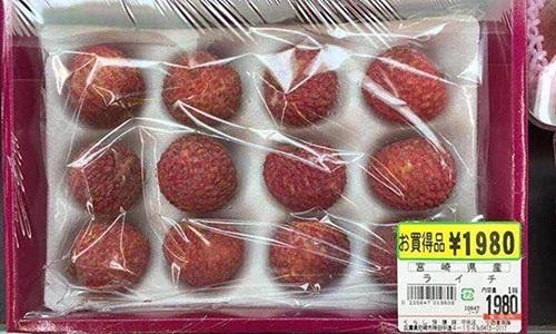Cũng tại thị trường Nhật, vải thiều Lục Ngạn được bán trong siêu thị với mức giá khá cao, khoảng 1.980 yên (12 quả), tương đương khoảng 400.000 đồng. Nếu cộng thêm thuế thì 12 quả vải này có giá khoảng 430.000 đồng.
