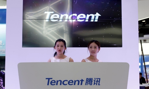 Quầy của Tencent tại Triển lãm Internet Di động Toàn cầu ở Bắc Kinh. Ảnh: Reuters