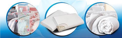 Khi mua nệm Kymdan, khách nhận thêm quà tặng cao cấp là drap, gối và ruột mền.