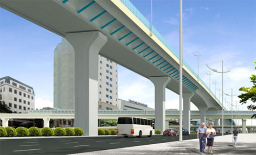 Phối cảnh dự án đường vành đai 2 trên cao, đoạn Vĩnh Tuy - Ngã Tư Sở.