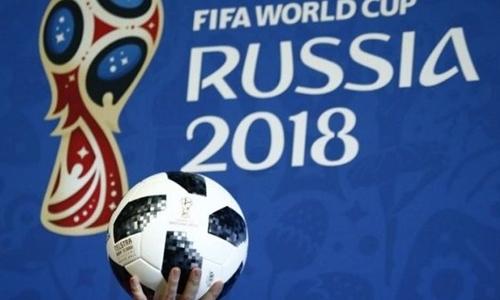 Mẫubóng chính thức cho World Cup 2018 được giới thiệu trong một sự kiện. Ảnh: Reuters