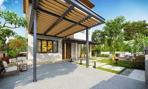 Khoảng sân vườn rộng tại dự án nghỉ dưỡng SwanBay