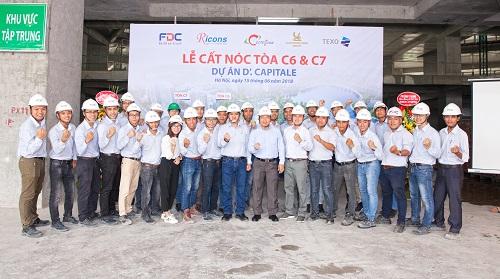 Coteccons, F.D.C cất nóc tòa C6 và C7 dự án D'. Capitale