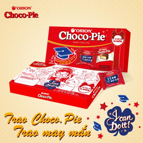 Chỉ cần viết lời chúc vào khung nhỏ phía sau hộp phân phốih, Choco.Pie có thể trở thành 1 chiếc bùa may ý nghĩa mà nhẹ nhàng nhất cho mọi sĩ tử.