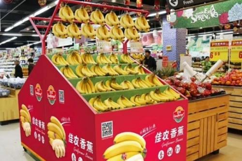 Chuối của Hoàng Anh Gia Lai lên kệ trung tâm mua sắm ở Trung Quốc. Ảnh: HAGL