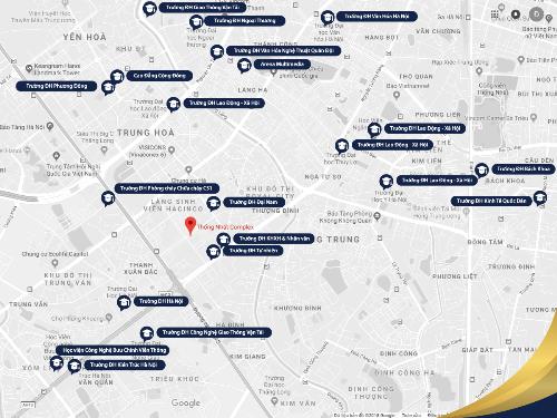 Với địa điểm đắc địa, Thống Nhất Complex thuận tiện kết nối có hàng chục trường ĐH lớn ở Hà Nội.