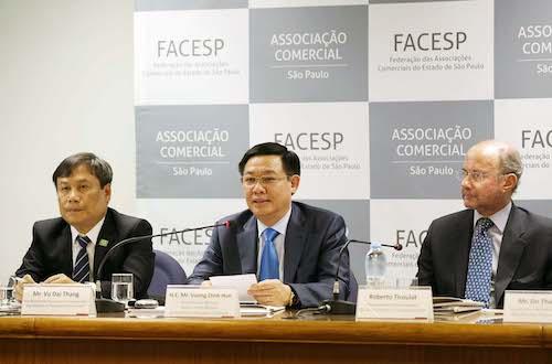 Phó thủ tướng Vương Đình Huệ tham dự diễn đàn công ty Việt Nam - Brazil ở SaoPaulo. Ảnh:VGP
