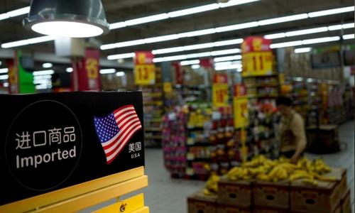 Hàng nhập khẩu của Mỹ ở 1 trung tâm thương mại ở Thượng Hải. Ảnh: Reuters