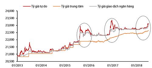 Tỷ giá trong 5 năm gần đây. Nguồn: Công ty chứng khoán Rồng Việt, Bloomberg