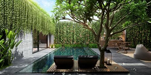 Không gian villa vừa chắc chắn riêng tư vừa hòa quyện có môi trường xung quanh ở Wyndham Garden.