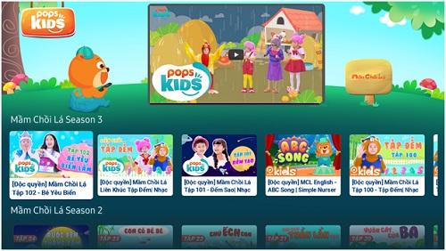 Giao diện của áp dụng POPS Kids - sản phẩm chuyển mình của POP.