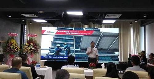 Đại diện EVN miền Nam phát biểu tại sự kiện ra mắt hệ thống năng lượng mặt trời của SolarBK.